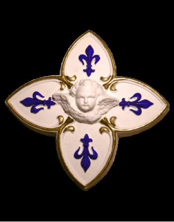 Croix fleurs de lys bleu et or